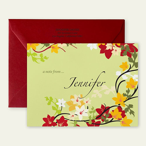 red flower vines personalized note cards