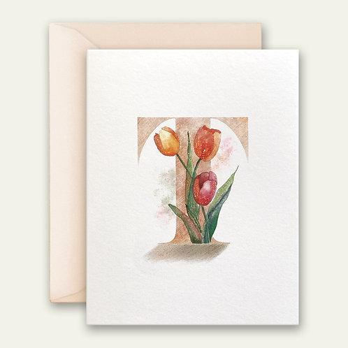 monogram initial T tulips watercolor greeting card