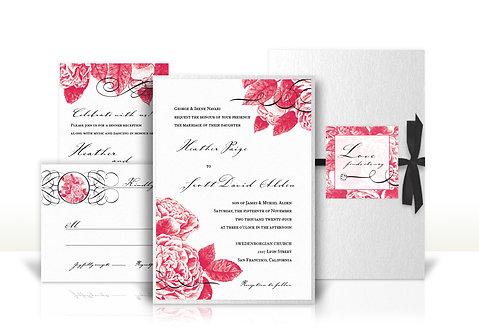 english rose custom wedding invitation