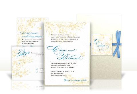 french blue bouquet custom wedding invitation