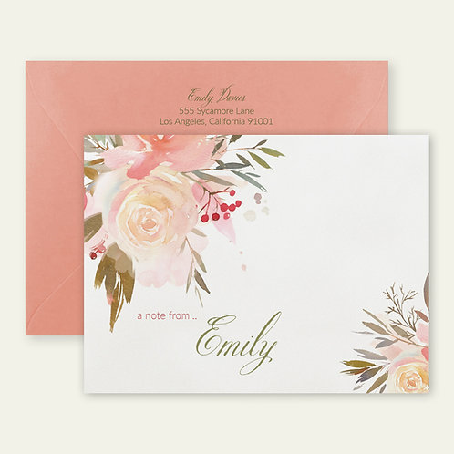 peach roses watercolor personalized note cards