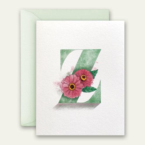 monogram initial Z floral watercolor greeting card