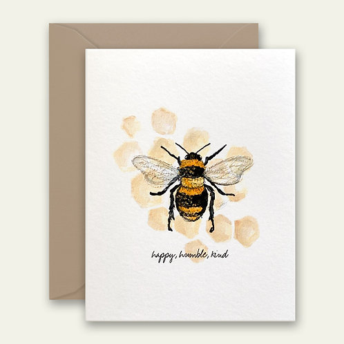 bee happy, humble and kind watercolor greeting card