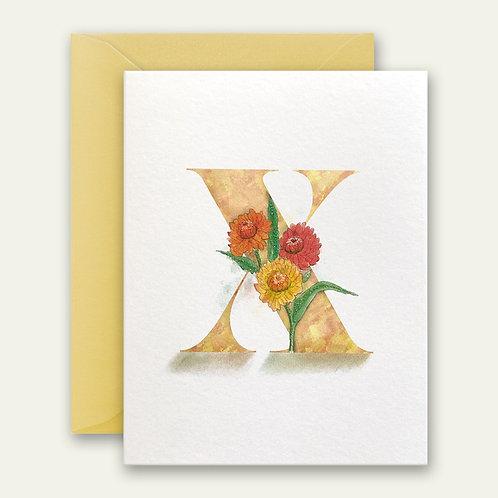 monogram initial X floral watercolor greeting card