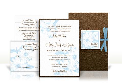 magnolia custom wedding invitation