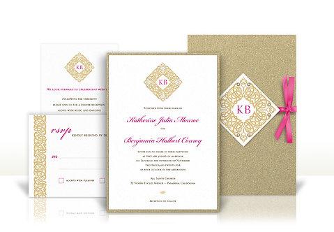 gold ornamental custom wedding invitation