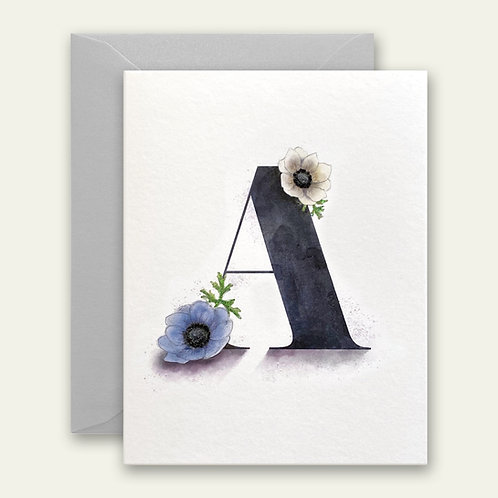 monogram initial A watercolor greeting card