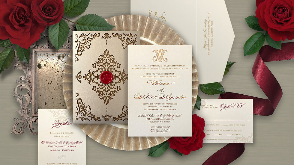 champagne gold foil and laser cut invitation with wax seal
