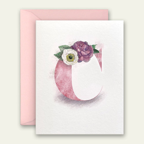 monogram initial C camelia watercolor greeting card