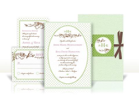 vintage style custom wedding invitation