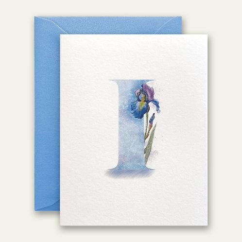 monogram initial I iris watercolor greeting card