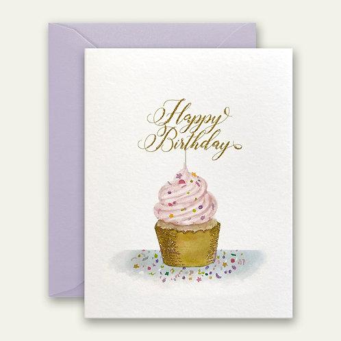 cupcake sprinkles birthday watercolor greeting card