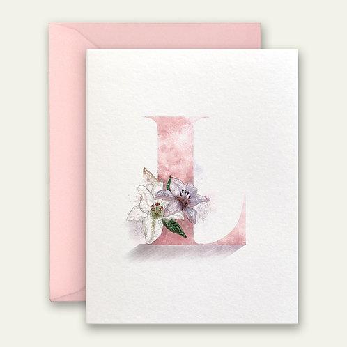 monogram initial L lily watercolor greeting card