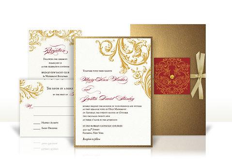 golden flourish custom wedding invitation