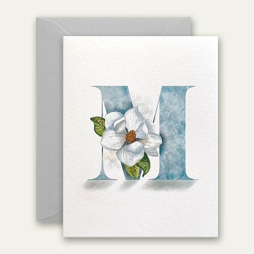 monogram initial M magnolia watercolor greeting card