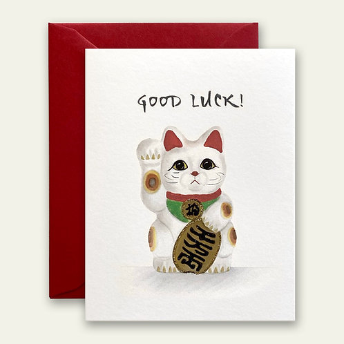 japanese lucky kitty watercolor greeting card