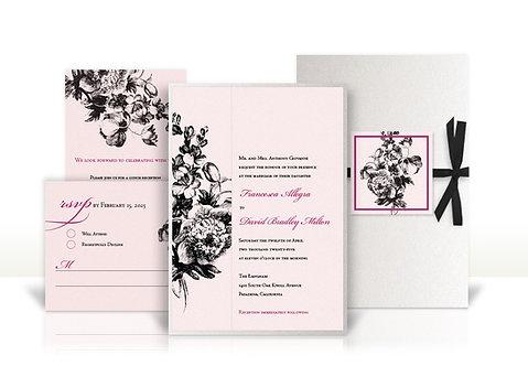 peony custom wedding invitation