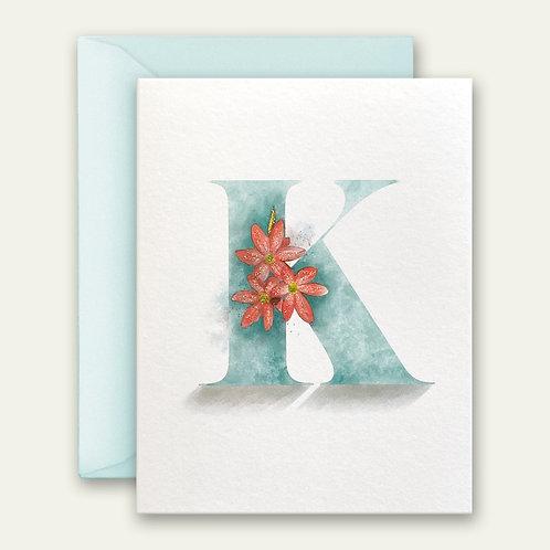 monogram initial K floral watercolor greeting card