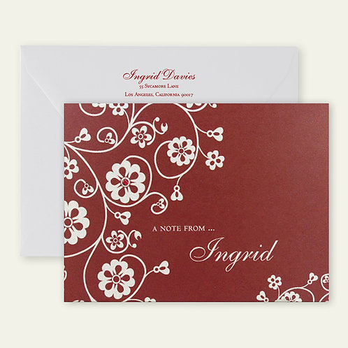 red floral personalized note card