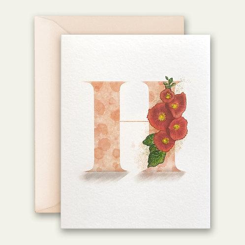 monogram initial H hollyhock watercolor greeting card