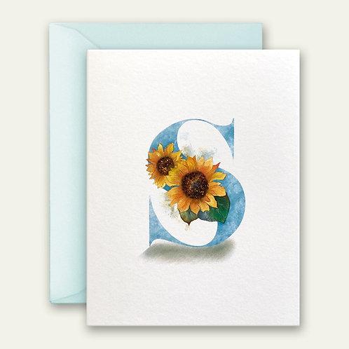 monogram initial S sunflower watercolor greeting card