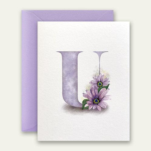 monogram initial U floral watercolor greeting card