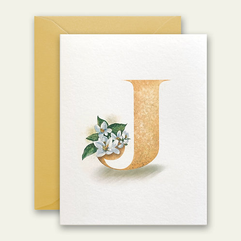 monogram initial J jasmine watercolor greeting card