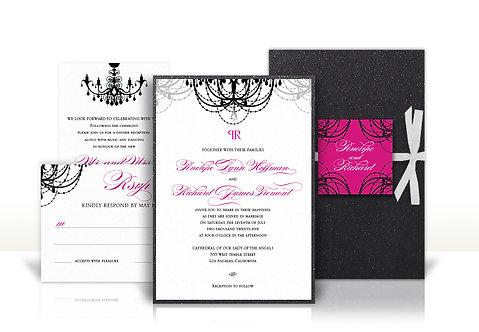 chandelier custom wedding invitation