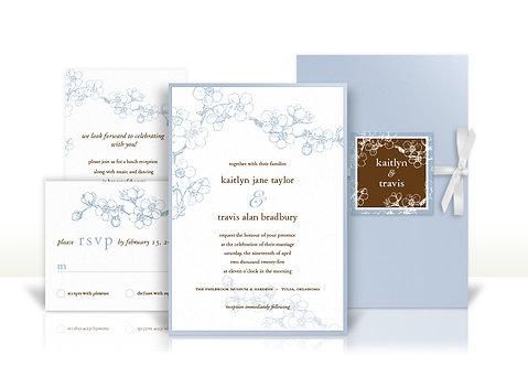 dogwood branches southern custom wedding invitation
