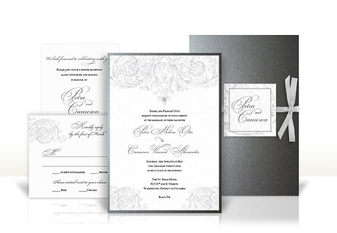 royal silver custom wedding invitation
