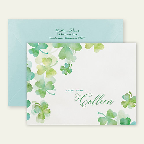 shamrocks watercolor personalized note cards