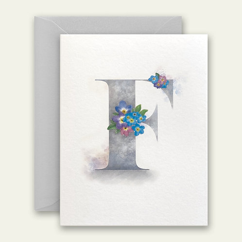 monogram initial F forget-me-knots watercolor greeting card