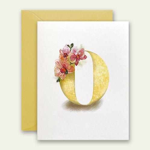 monogram initial O orchid watercolor greeting card