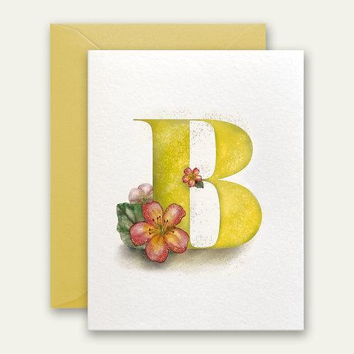 monogram initial B begonia watercolor greeting card