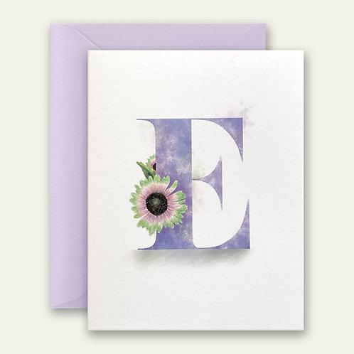 monogram initial E floral watercolor greeting card