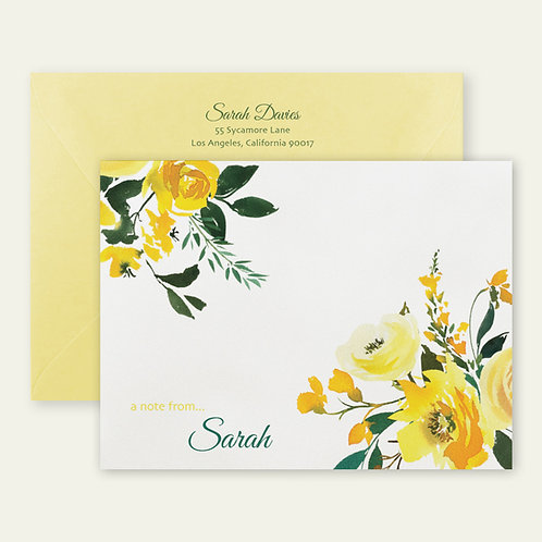 yellow roses watercolor personalized note cards