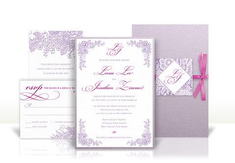 lace design custom wedding invitation