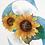 monogram initial S sunflower watercolor greeting card closeup