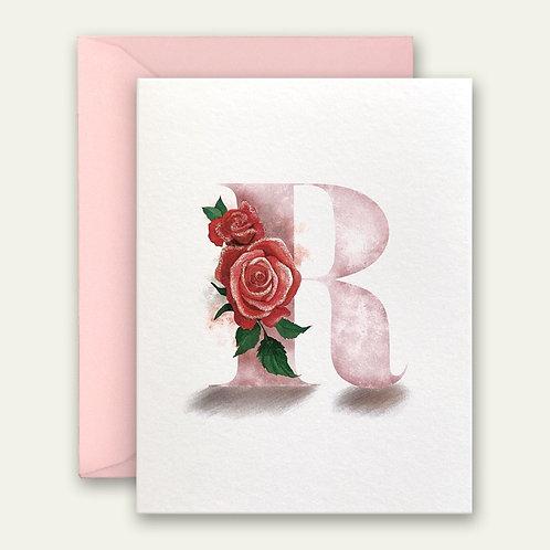 monogram initial R rose watercolor greeting card