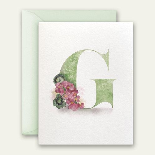 monogram initial G geranium watercolor greeting card