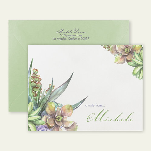 succulents personalized note cards