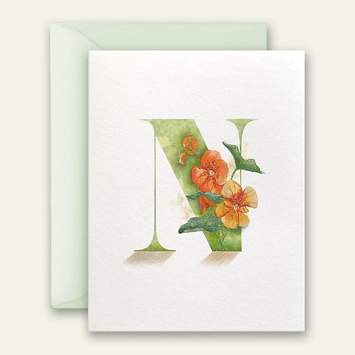 monogram initial N nasturtium watercolor greeting card