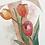 monogram initial T tulips watercolor greeting card closeup