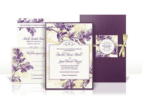 lilac branches custom wedding invitation