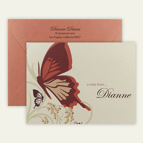 butterflies personalized note cards