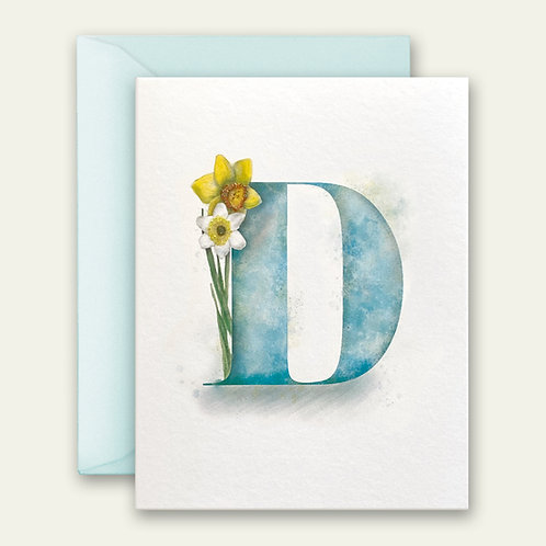 monogram initial D daffodil watercolor greeting card