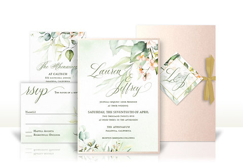 floral blush pink and gold custom wedding invitation
