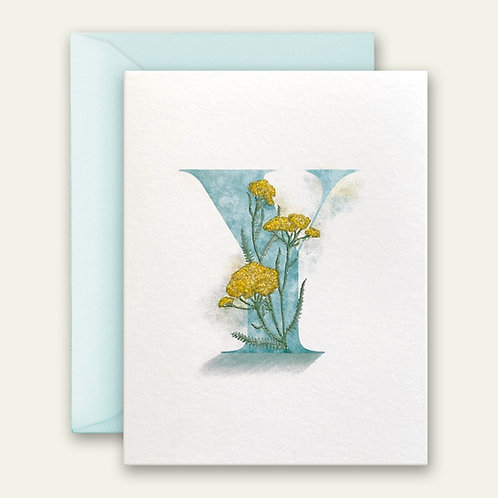 monogram initial Y floral watercolor greeting card