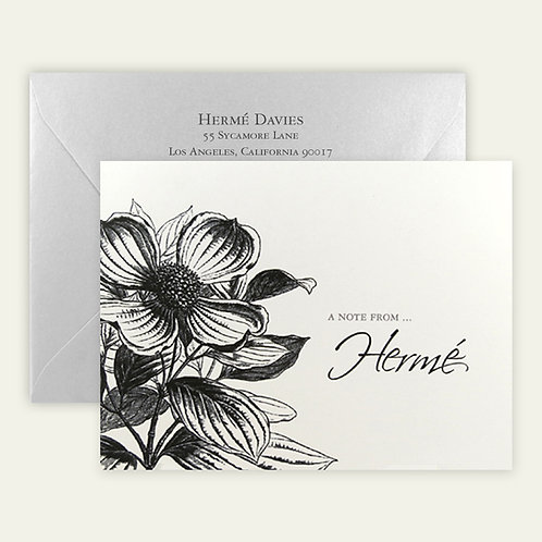 magnolia vintage drawing personalized note cards