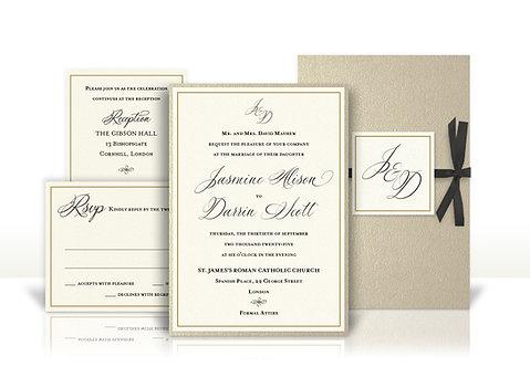 classic script custom wedding invitation